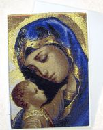 Madonna & Child, Tapestry Icon Greeting Card with Envelope