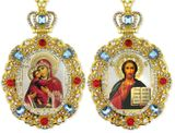 Matching Set of 2 Jeweled Framed Icon Pendant Ornaments