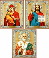 Matching Set of 3 Icons: Virgin Mary, Christ The Teacher & St Nicholas
