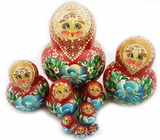 Matreshka 10 Nested Dolls, Hand Painted, Hand Carved