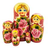 "Matreshka 5 Nesting Doll,  Cute Faces, ""Floral"" Design"