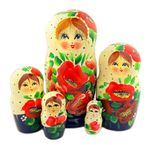 5 Nested Matreshka Wooden Dolls, Poppy Flower Design