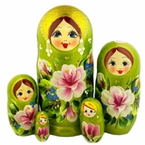 5 Nested Matreshka Wooden Dolls, Floral Design, Green, 7""