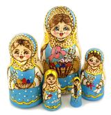 "5 Nested Wooden Dolls ""Easter Eggs"", Hand Painted"