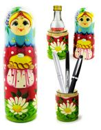 Matreshka Pen Holder & Case, Blue/Red/Green