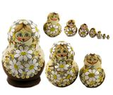 Matrioshka 10 Nested Doll, Decorated with Beads, Woodburn