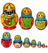 Matrioshka 10 Nested Dolls , Hand Painted, Hand Carved