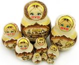 Matrioshka 10 Nested Dolls With Churches, Hand Painted, Hand Carved