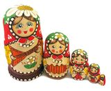 "Matreshka 5 Nested Doll ""Balalayka"", Hand Carved"