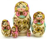 Matrioshka 5 Nested Doll, Hand Carved, Hand Painted, Woodburn