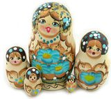 Matrioshka 5 Nested Doll With Butterfly, Hand Carved, Woodburn