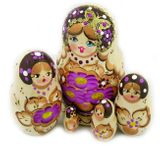 Matrioshka 5 Nesting Doll With Butterfly, Hand Carved, Woodburn