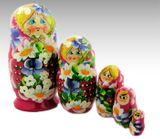 Matrioshka 5 Nested Doll with Fruits and Flowers