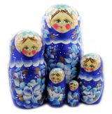 "Matrioshka 5 Nested Dolls, ""Floral"" Design, Hand Painted, Hand Carved"
