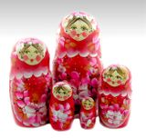 Matrioshka 5 Nested Floral Dolls, Hand Painted, Hand Carved, Red