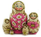 5 Nested  Woodburn Matrioshka Doll, Hand Carved Hand Painted