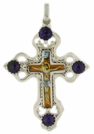 Melchior (Filigree) Cross with Enamel (Finift) Crucifix Icon and Stones
