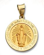 Miraculous Hollow Gold Medal, 14 KT
