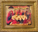 Mystical  (Last) Supper, Orthodox Icon with Crystals in Gold Frame & Glass