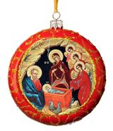 Nativity of Christ, Not Breakable Christmas  Ornament, Red