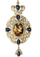 Nativity Scene, Panagia Style Icon Ornament / Blue Crystals