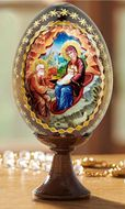 Nativity of Christ, Wooden Icon Egg With Stand
