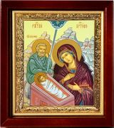 Nativity of Christ, Wood  Framed Icon, Gold Plate