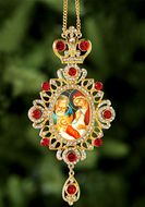 Nativity of Christ, Jeweled Icon Ornament / Red Crystals
