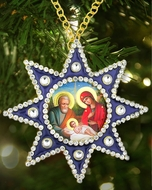 Nativity of Christ Framed Icon Pendant,  Star of Bethlehem Style,  Blue