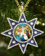 Nativity of Christ, Framed Icon  Ornament,  Star of Bethlehem Style