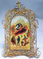 Nativity of Christ, Hand Painted Icon Antique Style With Its Stand