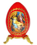 Nativity of Christ, Icon Wooden Egg with  Stand