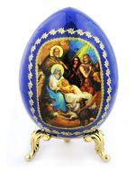 Nativity Of Christ, Icon Egg with  Stand, Blue
