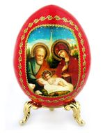 Nativity of Christ, Icon Egg with  Stand, Red