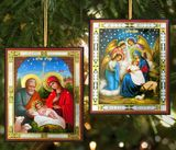 Nativity of Christ, Icon Ornaments, Set of 2