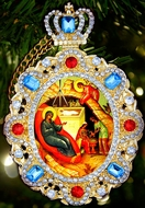 Nativity of Christ, Jeweled  Icon Pendant with Chain