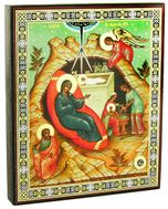 Nativity of Christ, Orthodox  Icon with Relic Stone From Holy Land