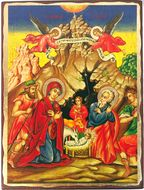 Nativity of Christ, Greek Serigraph Orthodox Icon