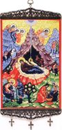 "Nativity of Christ,  Tapestry Icon Banner, Medium, 13"" H"
