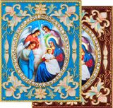 Nativity of Christ with Angels, Enameled Framed Icon Pendant with Stand