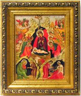 Nativity of Christ,  Wood  Framed Icon with Crystals and  Glass