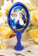 Nativity of Christ, Wooden Decoupage Icon Egg with Stand, Blue