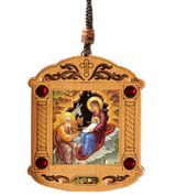 The Nativity, Wooden Icon Shrine Pendant Ornament on Rope