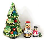 Nested  Wooden  Christmas Tree, Hand Painted, 4 Pieces