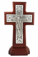 Old Russian Style Wooden Standing Cross, Silver Plated 999