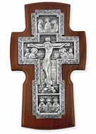 Old Russian Style Wooden Wall Cross, Silver Plated 999