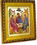 Old Testament Trinity (Holy Trinity) Framed Icon with Crystals and Glass