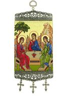 """Old Testament Trinity, Tapestry Icon Banner, ~10"""" H"""