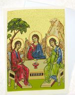 Old Testament Trinity, Tapestry Icon Greeting Card with Envelope