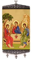 Old Testament Trinity,  Textile Art  Tapestry Icon Banner Large